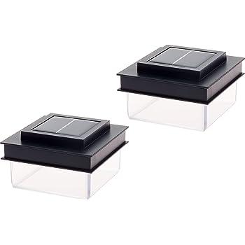 GreenLighting Translucent 12 Lumen LED Solar Powered Post Cap Light for 4x4 Wood Posts (2 Pack, Black)