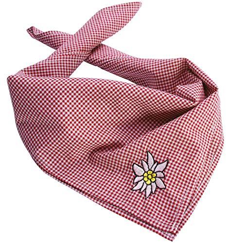 dressforfun 900820 Trachtentuch Edelweiß, kariert,verwendbar als Halstuch, Kopftuch oder Armtuch, für Oktoberfest & Trachten Party - Diverse Farben - (Rot | Nr. 303240)