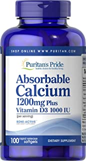 Puritan's Pride Absorbable Calcium 1200 mg with Vitamin D 1000 IU, 100 Softgels
