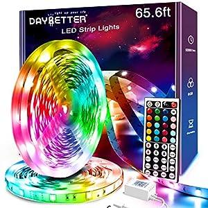 Daybetter Led Strip Lights, 65.6ft RGB Led Light Strips Kits with Remote, Color Changing Led Lights for Bedroom Room Tv Kitchen Desk Party