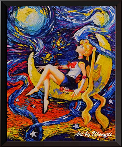 Uhomate Pretty Soldier Sailor Moon Wall Decor Vincent Van Gogh Starry Night Posters Home Canvas Wall Art Nursery Decor Living Room Wall Decor A052 (8X10)