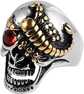 HZMAN Punk Rock Ruby Eyes Scorpion Skull Ring for Men Women Retro Gothic Stainless Steel Jewelry