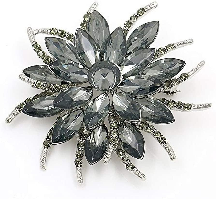 JewelBeauty Woman Lady Girl Brooch Corsage Breastpin Banquet Bouquet Accessories Feather Flower For Wedding Party (gray)