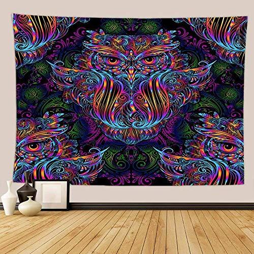 ZJMIYJ Tapiz para colgar en la pared, diseño de búho psicodélico abstracto de animales psicodélicos para pared, dormitorio, sala de estar, picnic, mantel de colores para colgar en la pared, decor