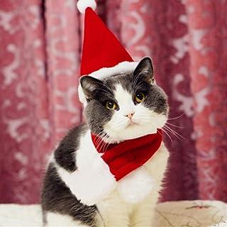 トトハウス(TOTO HOUSE) 猫 犬 帽子 マフラー クリスマス 帽子 マフラー セット かわいい お祝い アクセサリー サンタ帽 おもしろ コスプレ (S)