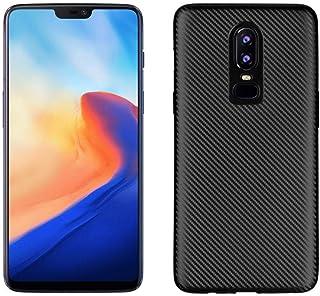 Okteq Carbon Fiber Texture Soft TPU Back Phone Case for OnePlus 6 - Black