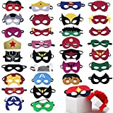 Superhero Masks Party Favors for Kid (33 Packs) Felt and Elastic - Superheroes Birthday Party Masks with 33 Different Types for Children