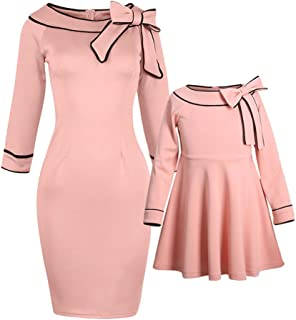 08f2f698 PopReal Mommy and Me Outfits Sweet Bowknot Decorated Matching Dress Pink
