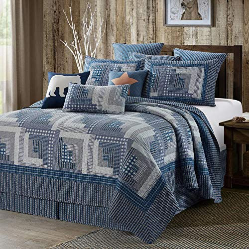 Virah Bella Collection Phyllis Dobbs Montana Cabin: Blue/Gray Polyester Full/Queen Quilt Bedding Set with 2 Standard Shams