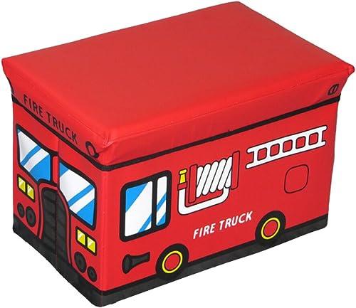 Ounona pour enfants Boîte de rangeHommest Assise Rouge Camion de pompier jouet