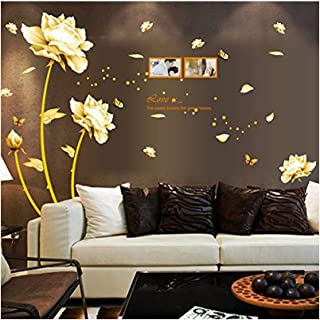 Alrens TM Luxury Vase Plum Flowers Pattern 3D Mirror Wall Stickers Living Room Entrance Bedroom TV Wall Decals Marriage Room Decorated Dining Room D/écor Home Decoration Removable