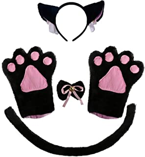 Cat Ear Cosplay Cat Tail Bell Hairclip with Paw Bow Tie Costume Party Decoration Set 5 Pack
