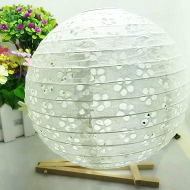 10/15/20/25/30/35 / 40cm Chinois Creux Papier lanternes Rondes Boules de Papier Lampe Mariage noël Halloween fête lampion déc