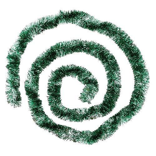 Ideen mit Herz Lametta-Girlande Deluxe | Duo Color | Ø4cm | 2m lang | Tannengirlande | Dekogirlande | Weihnachtsgirlande | Party Deko (grün & Silber metallic)