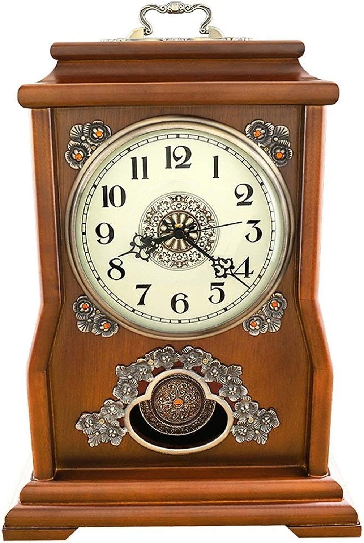 デスククロックファミリークロックヨーロピアンヴィンテージレトロマンテル/マントルミュート振り子の動きとサイレント置時計リビングルームの寝室のオフィスに適して(色:栗色)