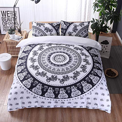 DIAMWAN - Juego de cama multicolor estilo bohemio con mandala étnico, microfibra, funda de edredón y fundas de almohada (blanco, 220 x 240 cm)