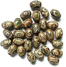 Vintage Groene Steen Natuurlijke Tibetaanse Dzi Agaat Kralen Ovale Geometrische Negen-eyed Antieke Agaat Kralen voor Dames...