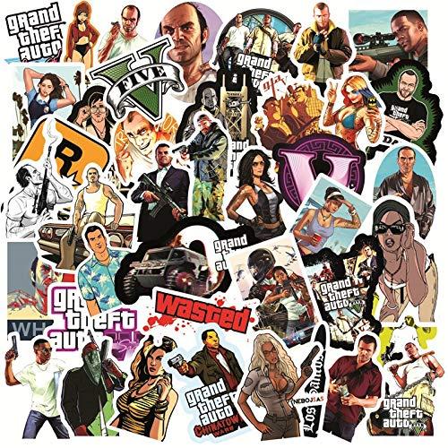 BLOUR 50 Uds Juego GTA Pegatinas Graffiti Equipaje Guitarra Nevera portátil monopatín Impermeable Fresco clásico Pegatinas calcomanías Broma Chico Juguetes