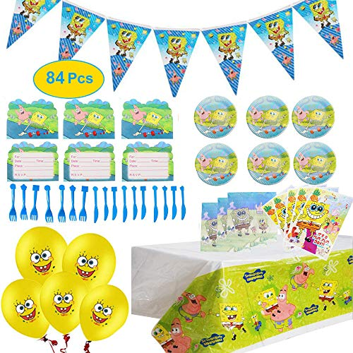 84pcs Spongebob Theme Party Supplies Set Spongebob Geburtstag Dekoration Supply Pack beinhaltet Geschirr Luftballons Banner für Spongebob Theme Kids Party Celebration