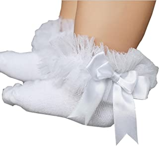 ONE'S Newborn Infant Baby Girls Princess Bowknot Lace Ruffle Frilly Trim Ankle Sock