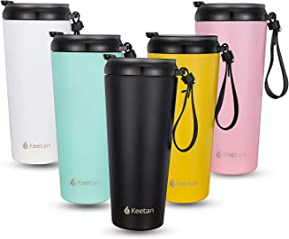 Double Walled Stainless Steel Coffee Cup with Lid Vacuum Insulated Tumbler Bottles 20oz Travel Mug with Black Leather Lanyard
