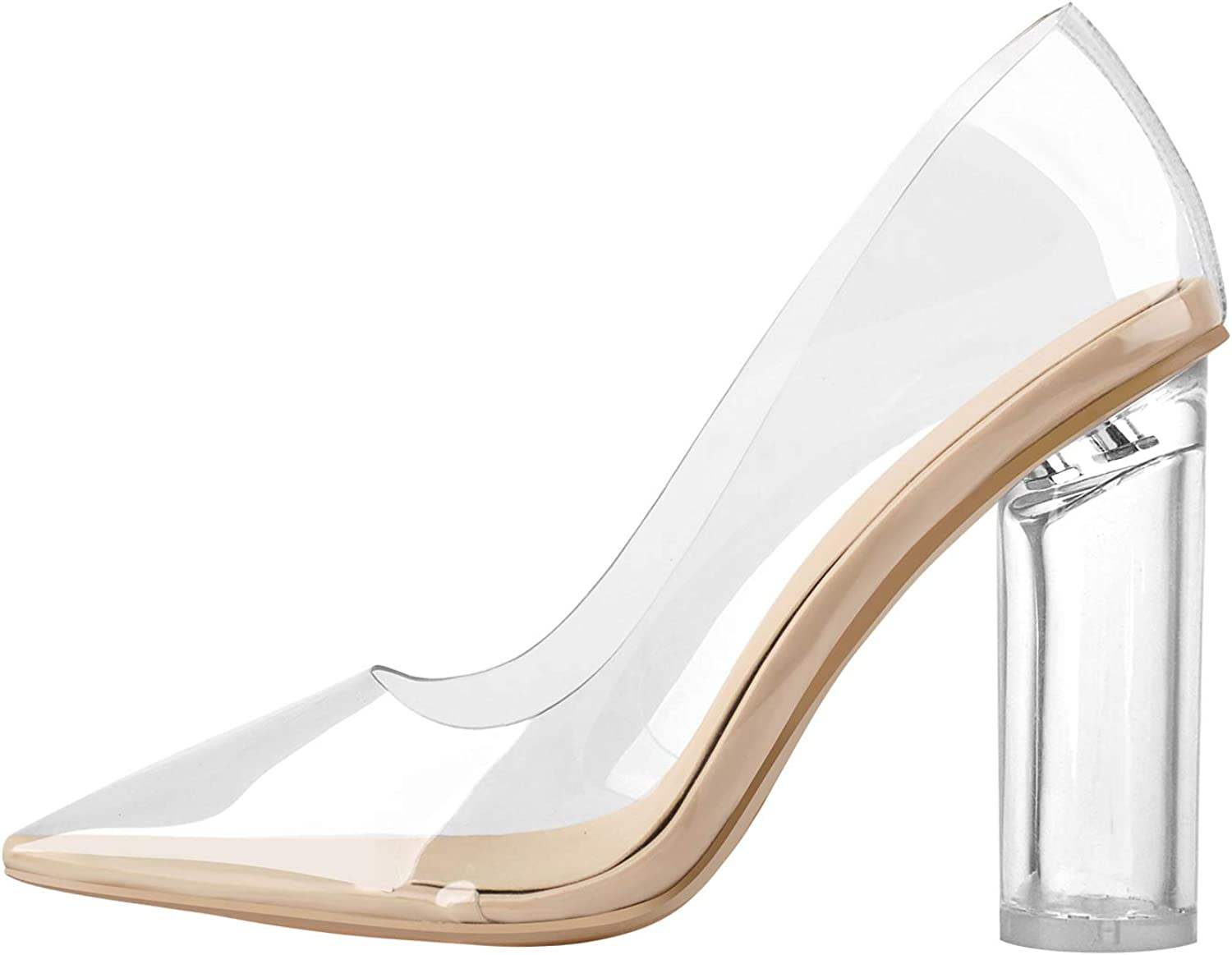 Outlet ☆ Free Shipping LISHAN trend rank Women's Clear High Pumps Pointed Toe Heels