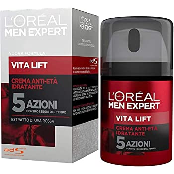 L'Oréal Paris Men Expert Vita Lift, Crema Anti-Età Idratante a 5 Azioni, Con Estratto di Uva Rossa, 50 ml
