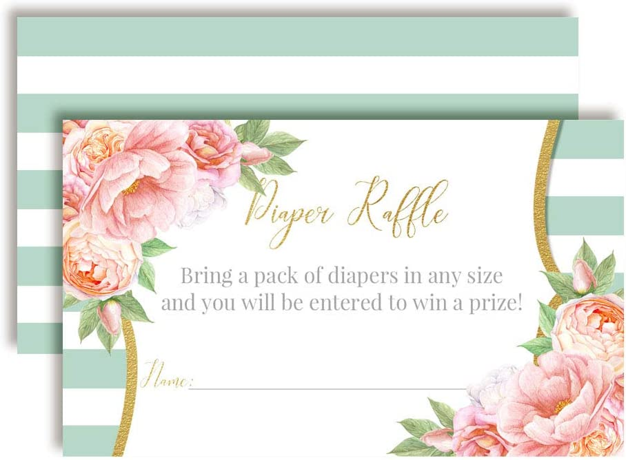 Aqua & Peony Watercolor Floral Diaper Raffle Tickets for Baby Showers, 20 2