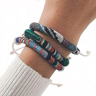 Branets Lot de 3 bracelets de surf faits à la main, style bohémien, réglables pour homme et femme