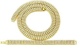 Chunky Necklace Bracelets, Curb Cuban Chain Necklace Miami Tennis Chain Bracelet 3 Row Diamond Hip Hop Rapper Necklace Bracelet Set for Men 30