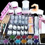 Saint-Acior Kit Manucure Poudre Acrylique pour Ongles Décoration Nail Art Tips Faux Ongles Paillettes Décor Poudre Set