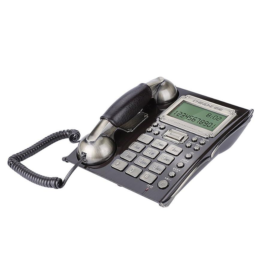 ミッション暴露する路面電車Acouto [固定電話] ヨーロッパ アンティークヴィンテージ固定電話 ダイヤル電話 レトロ外観 雷保護 固定電話機(ブラックピーチウッド)