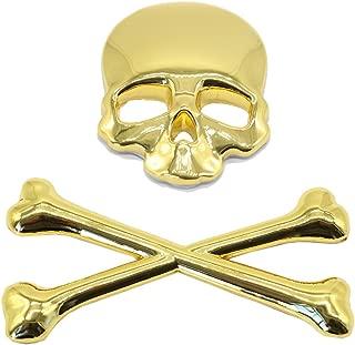 AUKA 3D Skull Metal Skeleton Crossbones Car Motorcle Sticker Label Skull Emblem Badge Car Styling Stickers Accessories (Gold)