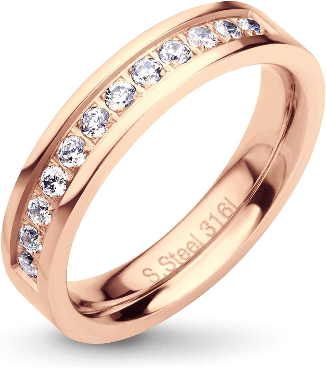 555Jewelry Womens Stainless Steel Classic CZ Wedding Engagement Band Rings