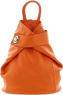 IO.IO.MIO - Mochila de piel para mujer (28 x 31 x 13 cm), color Naranja, talla Einheitsgröße