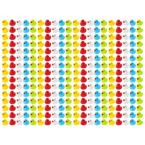WELLGRO 300 Badeenten - bunt (gelb, rot, weiß, blau, grün), je Ente ca. 3,5 x 3 cm (ØxH), Gummiente, im Netz
