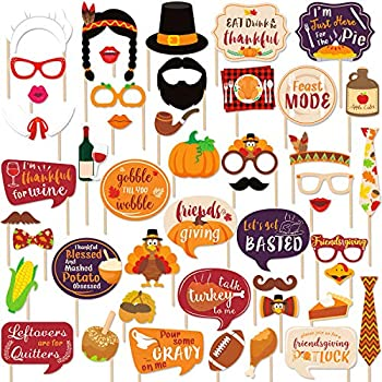 47 PCS Friendsgiving Photo Booth Props For Friends Thanksgiving Feast Give Thanks Fall Harvest Funny Turkey Party Decorations Supplies
