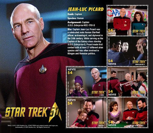 Nevis Star Trek 50th Anniversary- Jean-Luc Picard, Collectible Postage Stamps