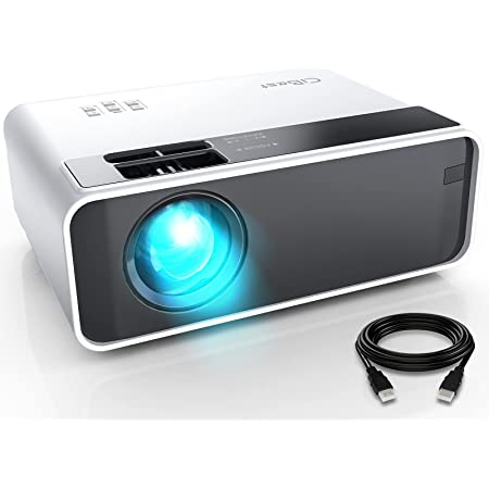 """Mini Projector, CiBest Video Projector Outdoor Movie Projector 6500L, LED Portable Home Theater Projector 1080P and 200"""" Supported, Compatible with PS4, PC via HDMI, VGA, TF, AV and USB…"""