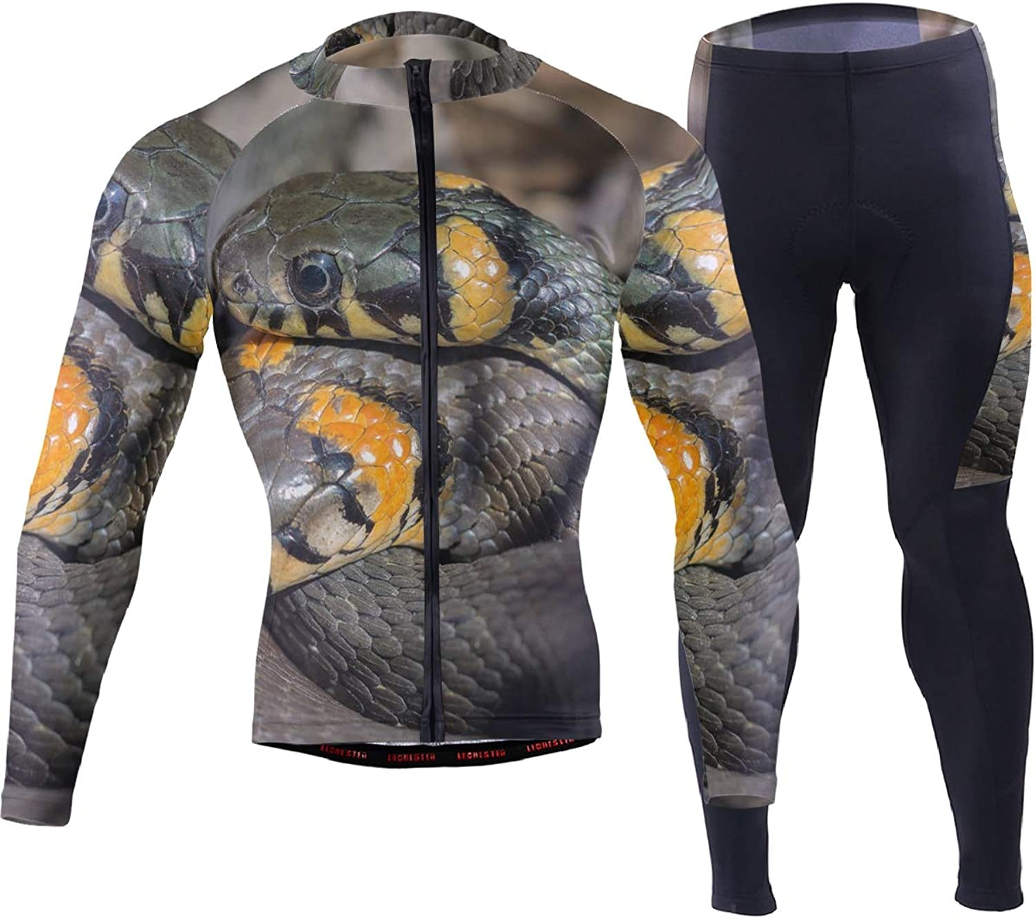 FAJRO Danger Snake Reptile Sportswear Suit Bike Outfit Set Breathable Quick Dry 3D Padded Pants