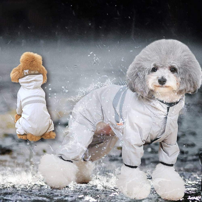 Grey Dog Raincoat, Hooded Puppy Poncho, Pet Lightweight Waterproof Jacket, Small Size