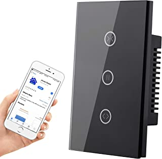 HHGAOKO WiFi Smart Curtain Switch,Wall Touch Panel Switch,Motorized Roller Blinds Shutter Switch,Compatible with Alexa and Google Assistant,Jinvoo APP(Black)