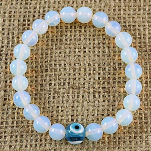 Evil Eye Created Moonstone 8mm Beads with Blue...