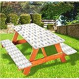 LEWIS FRANKLIN cortina de ducha erizo picnic mesa y banco de mantel ajustable, diseño de dibujo artístico para niños con borde elástico, 70 x 72 pulgadas, juego de 3 piezas para mesa plegable