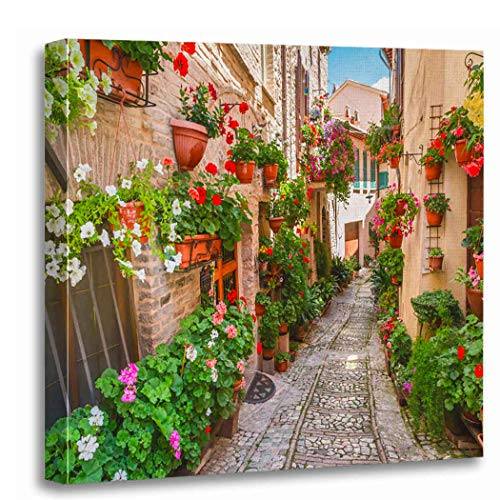 Meofo Canvas Print Wood Frame 16x16 Inches Small Town Sunny Day Italy Umbria Real Drawing Interesting Pop Art Artwork Wall Art Gift Decoration All Scenes