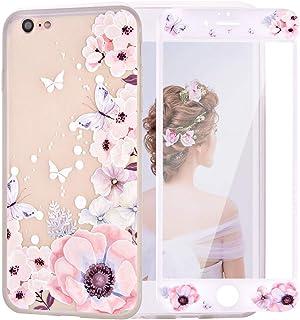 LaYoung iPhone7ケースカバー 保護フィルム付き iPhone8 ケース アイホン7ケース スマホケース 保護カバー 花柄 おしゃれ 人気 かわいい ソフト 女子 携帯case(iPhone7 4.7, ベゴニアの花柄)