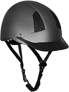 TuffRider 碳纤维壳头盔 < br> 用于马术骑手的校园护头装置 - 经 SEI 认证,坚固耐用 - 黑色