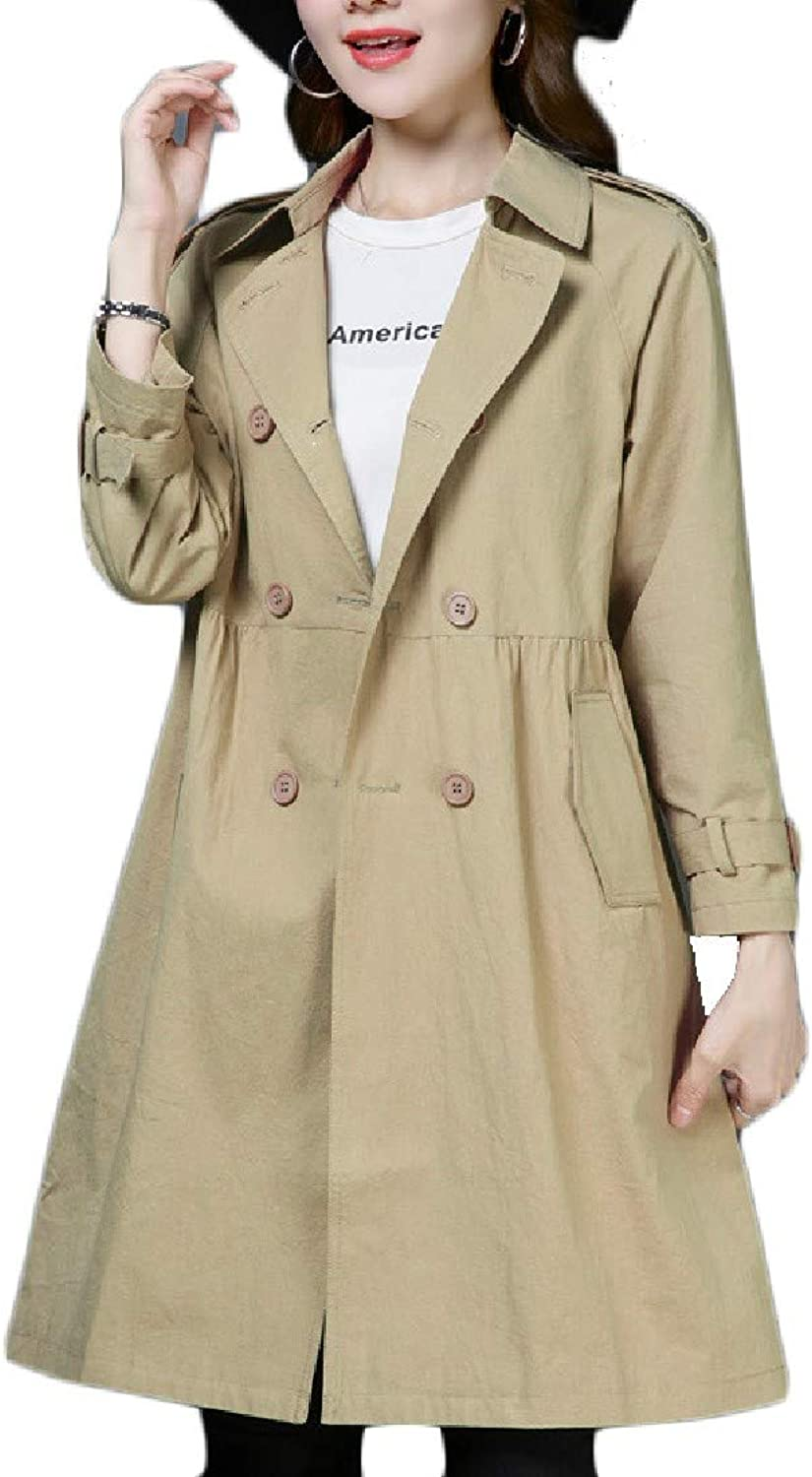 Abetteric Women's Smocked Waist Solid color Retro Jacket Overcoat