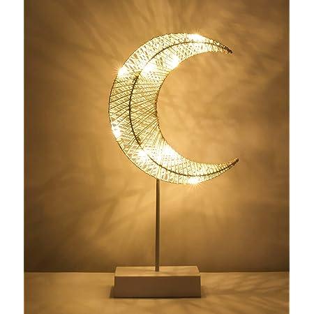 Lewondr Lampe de Table Décorative, Alimenté par Batterie Lampe de Chevet LED en Forme de Lune, Éclairage de Nuit Lumière Blanche Chaleureuse, Décoration pour Maison Chambre Travail Sommeil - Blanc