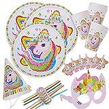 Kingmate Party Set Einhorn Muster - Party Set für Geburtstag Kindergeburtstag Mottoparty, Tischdeko Partygeschirr Set für 6 Personen.